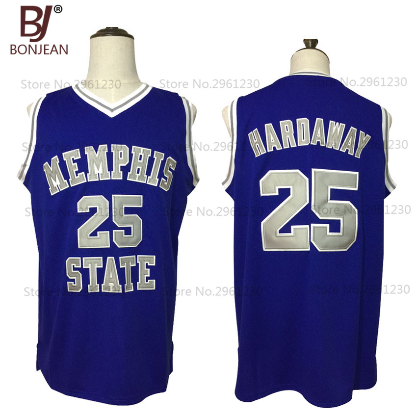 Cheap Throwback Basketball Jersey Penny Anfernee Hardaway 25 Memphis State College Basketball Jersey Blue Stitched Retro Shirts купить в Москве 2019