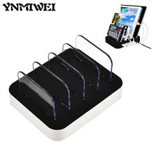 Ynmiwei 4 USB Charging Station Charger Dock Stand Holder For Apple iPhone Xiaomi Tablet Smart Phone Socket Mount Multi-Function