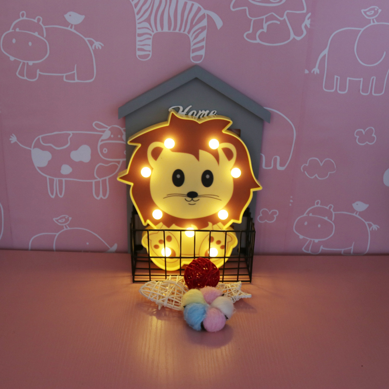 DELICORE INS Cute Lion Shaped Led Night Lights Animal Marquee Lamps On Wall For Kids Children Party Bedroom Decor Gifts JH-L055