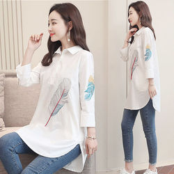 100% Cotton Plus size Feather Embroidery White Long Blouse Women 3/4 Sleeve Art Loose Ladies Office Work Tops Button Down Shirts 5