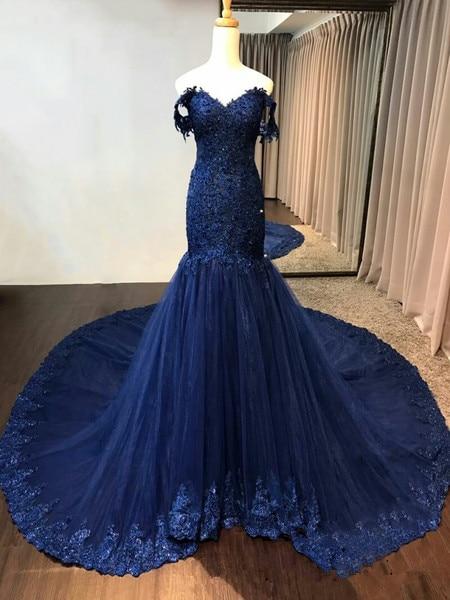 Navy Royal Blue Mermaid Burgundy Evening Dresses Long Womens Sheath Formal Dress Custom Made Elegant Vestido de Noiva-in Evening Dresses from Weddings & Events    2