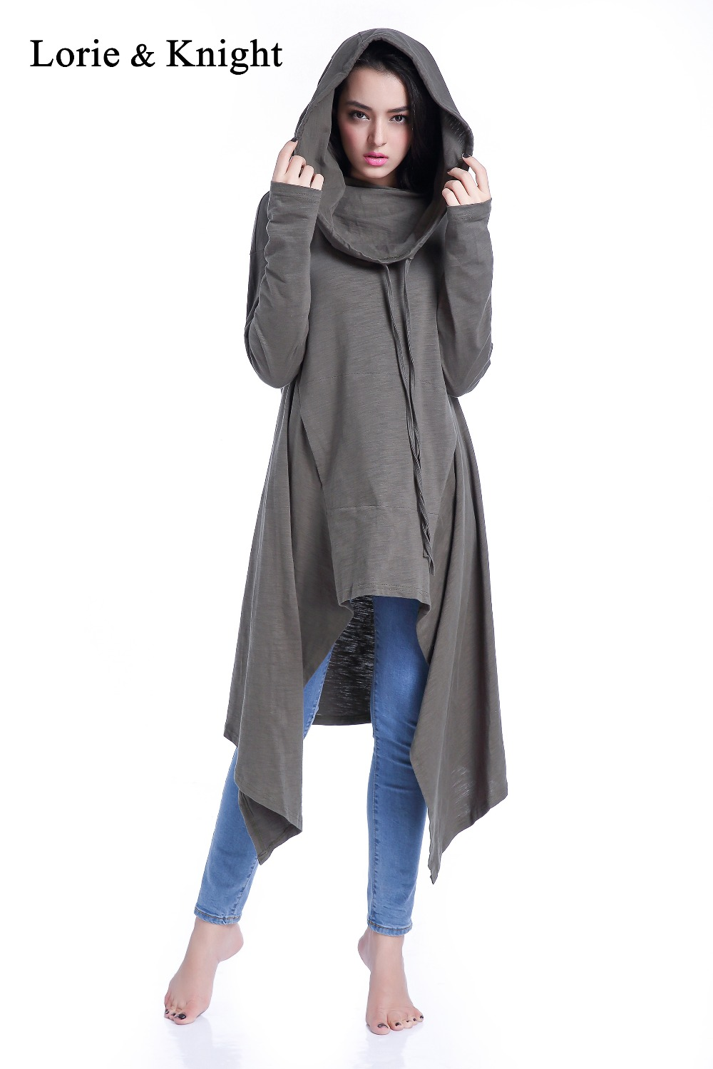 cd223c5e4ce Women s 100% Cotton Asymmetrical Loose Fit Oversized Pullover Hoodie Tunic  Dress
