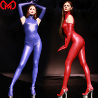 MEISE Cosplay Bodysuit Latex Shiny Bodysuit Sexy Tights Shaping Wear Open Crotch Jumpsuits Moto Biker Club Wear With Glove F115