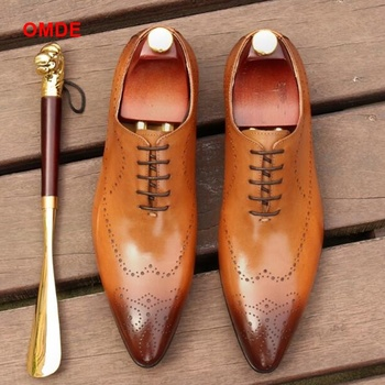 OMDE Pointed Toe Oxford Shoes For Men Fashion Lace-up Mens Dress Breathable Carved Business Formal Shoe Leather