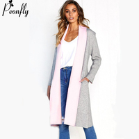 PEONFLY Knitted Long Cardigan Female Autumn Winter Sweater Women Patchwork Long Sleeve Coat Tricot Loose Cardigan Femmet