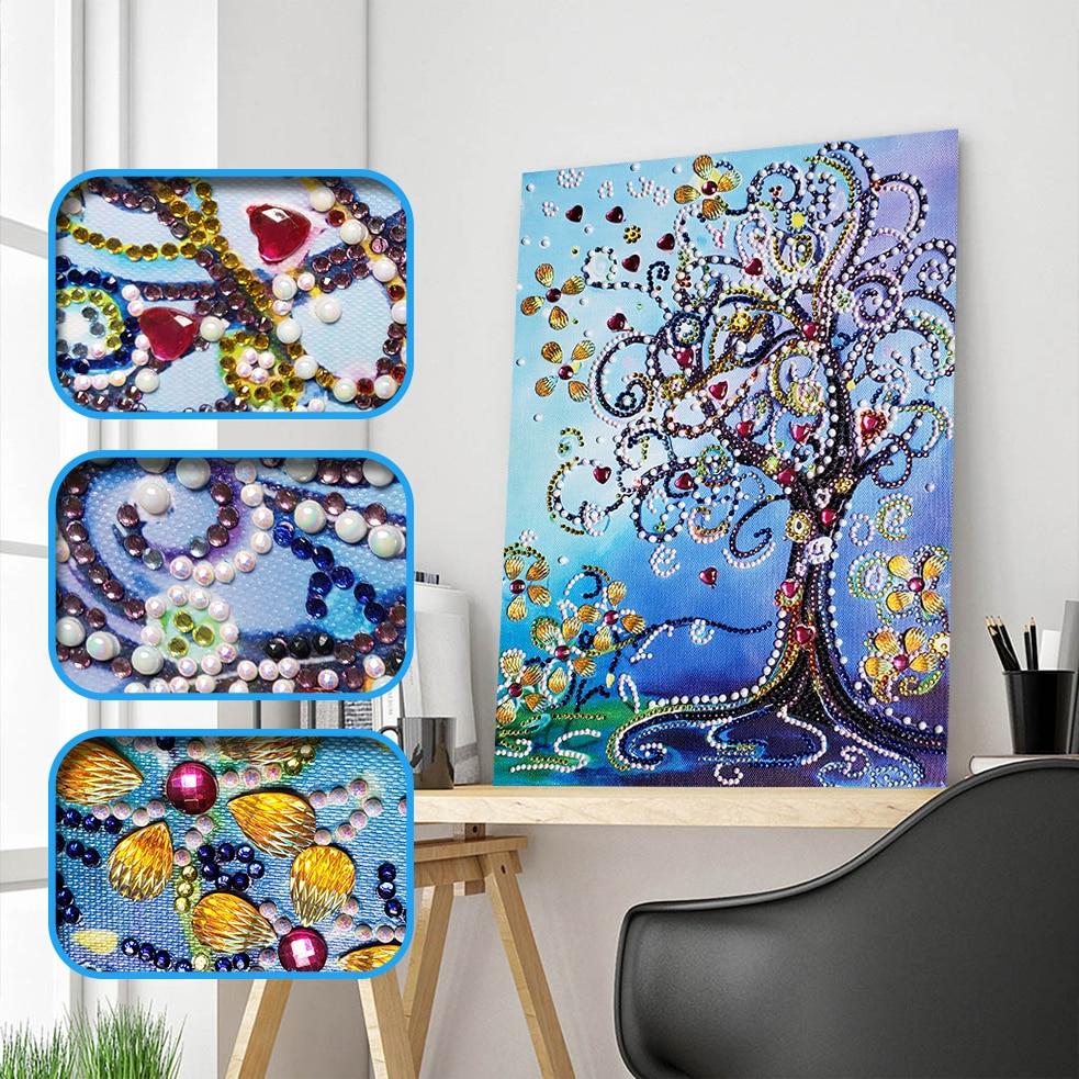Diamond Embroidery Flower Tree Special Shape Diamond Painting Embroidery Rhinestone Love Heart Diamond DIY Crystal Painting