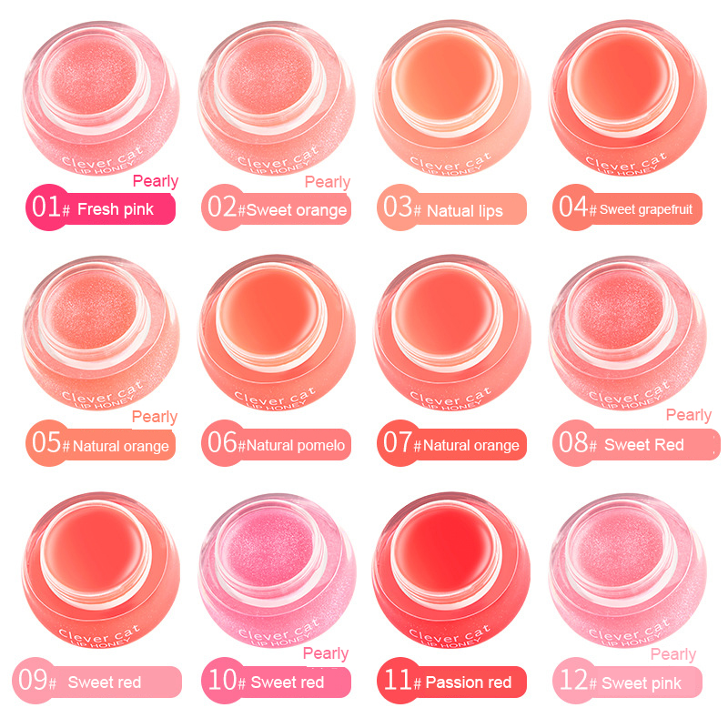Fruit Moisturizing Plumper Enhancer Lip Balm Beeswax Plant Ingredients Vitamin Lip Gloss Sleeping Crystal Translucent Lip Mask 4