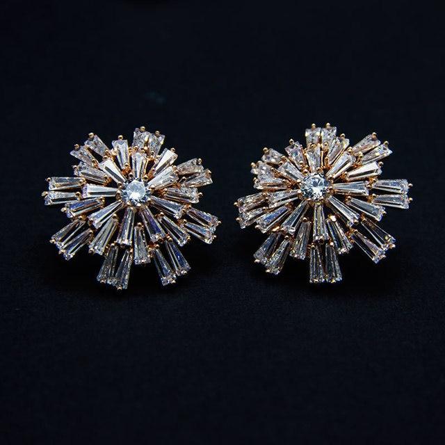 a0858ee26 Brand fashion rose gold filled stud earrings for women bridal CZ AAA Zircon  earrings snow flower