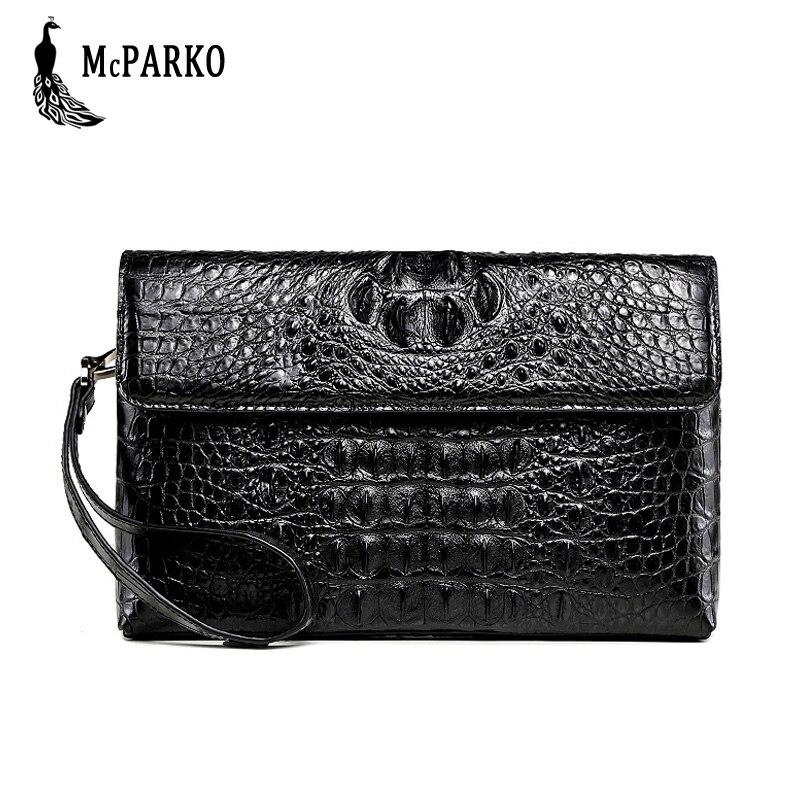 Portefeuille d'embrayage en cuir de luxe pour hommes véritable sac crocodile pour homme véritable portefeuille en peau d'alligator avec bracelet mode hommes sac
