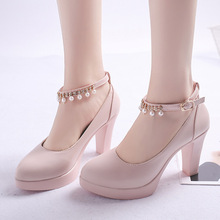 Plus Size String Bead Ankle Strap High Heels