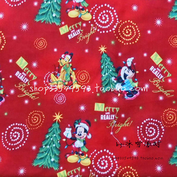 105x100cm red background mickey mouse merry and really bright toss cotton fabric for baby christmas decoration diy afck414 in fabric from home garden on - Mickey Mouse Christmas Decorations