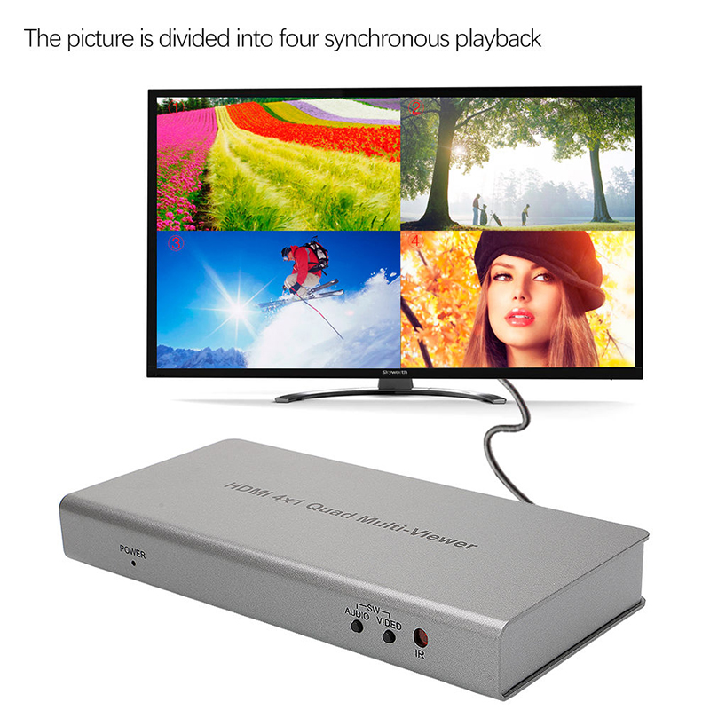 1080P HDMI 4x1 Quad Multi-viewer Converter with Seamless Switcher and IR Control EU/US Plug Gray Color doitop 4x1 hdmi multi viewer hdmi quad screen real time multi viewer hdmi splitter seamless switcher 1080p 60hz 3d ir control