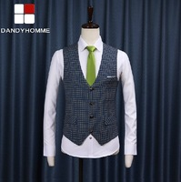 DANDY HOMMER High Quality 2015 New Spring Autumn Men V-Neck Business Gentleman Formal Blazers Wedding Groom Fashion Suits Vests