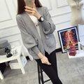 Де DoveNew свитер женский кардиган карман Puff короткий параграф Г-Жа осень и зимой свитер женщин Корейских Женщин
