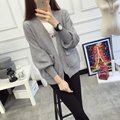 De DoveNew sweater female cardigan pocket Puff short paragraph Ms. autumn and winter sweater female Korean Women