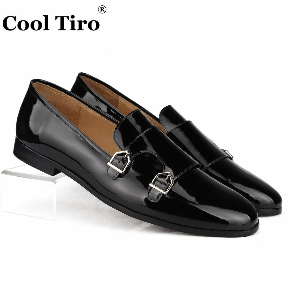 Cool Tiro Black Patent leather Men Loafers Double Monk Moccasins Slippers Formal Wedding Dress Shoes Flats