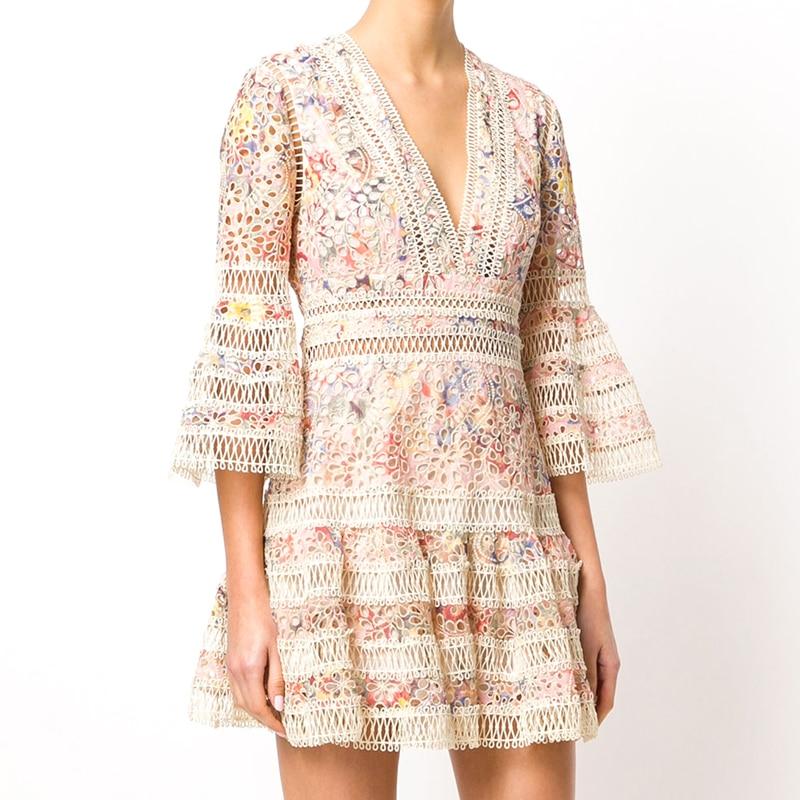 Robe de piste 2018 printemps été Designer femmes Vintage élégant Floral et papillon imprimé Midi robe de bal robe vestido