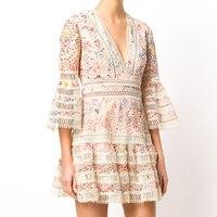Runway Dress 2018 Spring Summer Designer Women Vintage Elegant Floral And Butterfly Printed Midi Ball Gown Dress vestido
