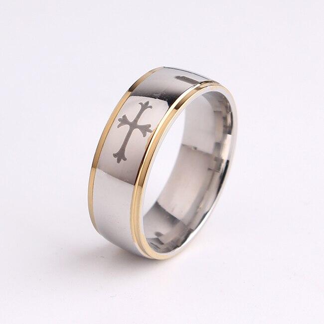 free shipping Black cross gold color border 316L Stainless Steel finger rings for men wholesale