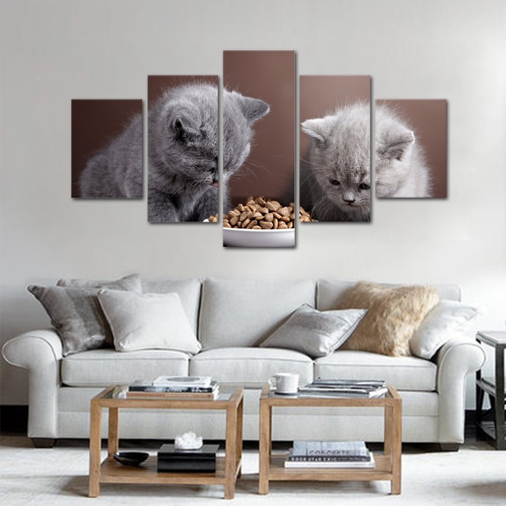Unframed HD Print 5 Canvas Art Painting Cat Living Room Decoration Spray Painting Mural Unframed Free Shipping