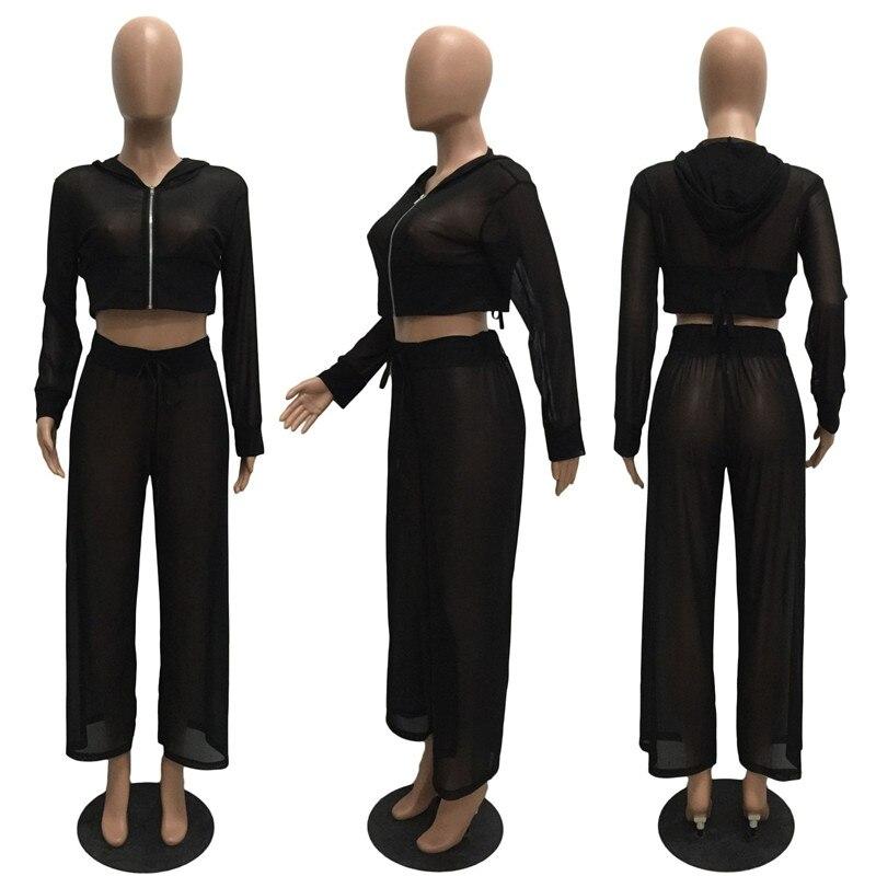 7d59c41134 Adogirl mujeres Sexy Sheer malla conjunto de dos piezas cremallera ...