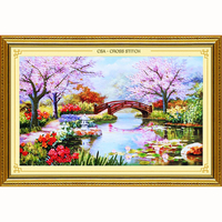 Handwork Ribbon Embroidery 100X65CM Print 3d Cross Stitch Paintings Landscape Flowers Cherry Hut Needlework Diy Kits