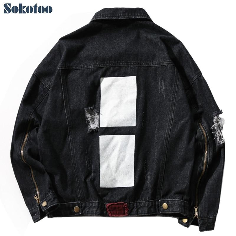 Sokotoo Men's black loose holes ripped denim jean jacket Plus size zipper sleeve coat Printed top outerwear