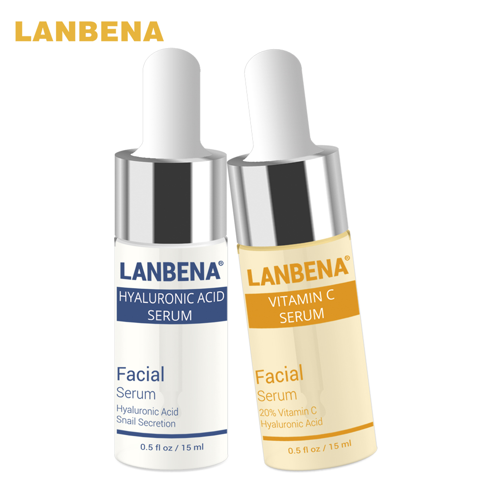 LANBENA Vitamin C Serum + Hyaluronic Acid Serum Anti-Aging Moisturizing Skin Care Strengthening Treatment Bleaching Moisturizing