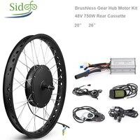 48V 750W Electric Fatbike Conversion Kit,Cassette 20 inch 26 Rear Wheel Snow Bike Hub Motor,E Bike Motor Kit, 35KM/H 170mm