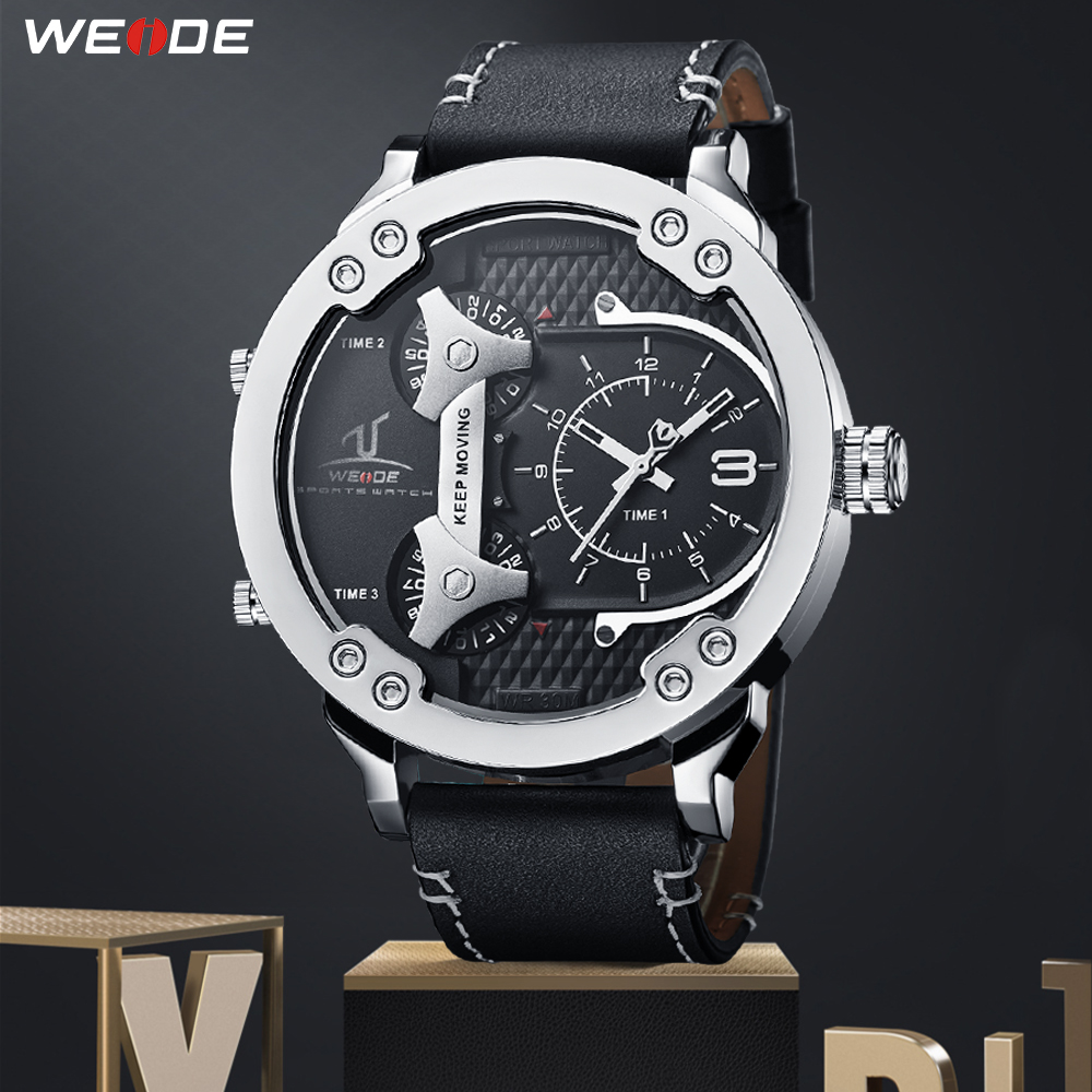 WEIDE Sports Man Analog Wristwatch Genuine Leather Strap Military Quartz Men Business Multiple Time Zone bayan kol saati Clock