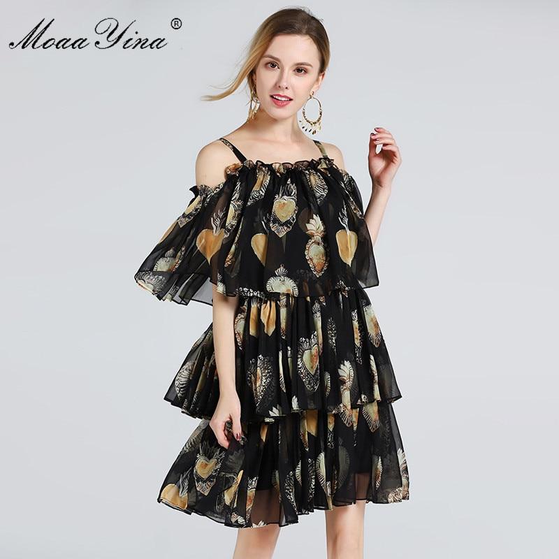MoaaYina ファッションデザイナー滑走路ドレス夏の女性スパゲッティストラップのカスケードフリルビーチセクシーなシフォンドレス  グループ上の レディース衣服 からの ドレス の中 1