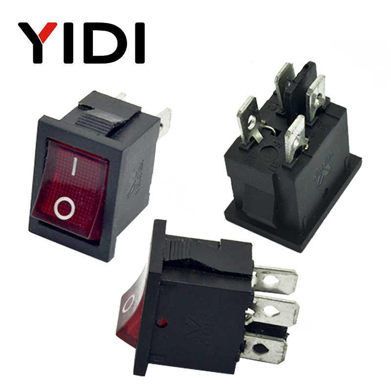 6A 250VAC KCD1-104 кулисный переключатель 4pin вкл. Выкл дпст 12 В 220 В красная лампа черный защелкивающий 15x21 двухпозиционный переключатель