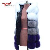 Winter Real fur coat Vests Blue White Stripe Color Fox Fur Vest Waistcoat For Women Furry Sleeveless Jackets Coats A#38