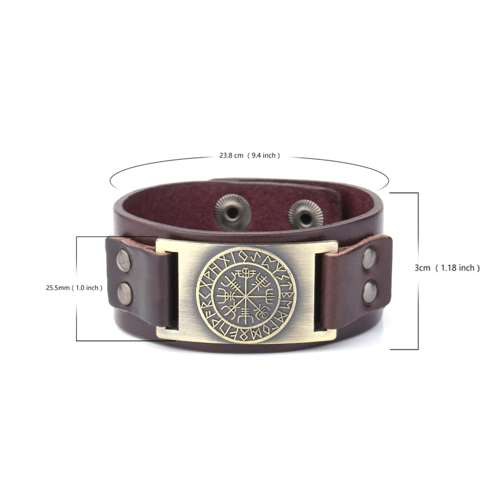 My Shape 2018 New Dropshipping Viking Vegvisir Compass Pendants Bangle Nordic Runes Men Jewelry Odin Symbol Leather Bracelets 1