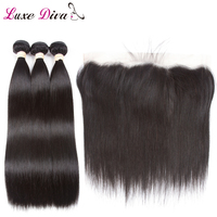 Mongolian Straight Hair Bundles With 13*4 Lace Frontal Free Part With Baby Hair Non Remy Human Hair Weave Bundles With Closure