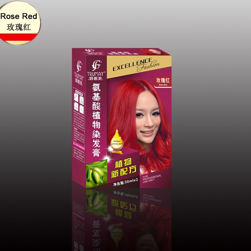 New Fashion Color Hair Dye Cream Rose Red Color Natural Permanent Amino Acid Plant Hair Dye Cream 30ml*2