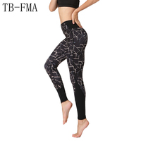 Floral Printed Yoga Pants Women High Waist Hip Athletic Sport Leggings Running Tights Sport Tights Sportswear