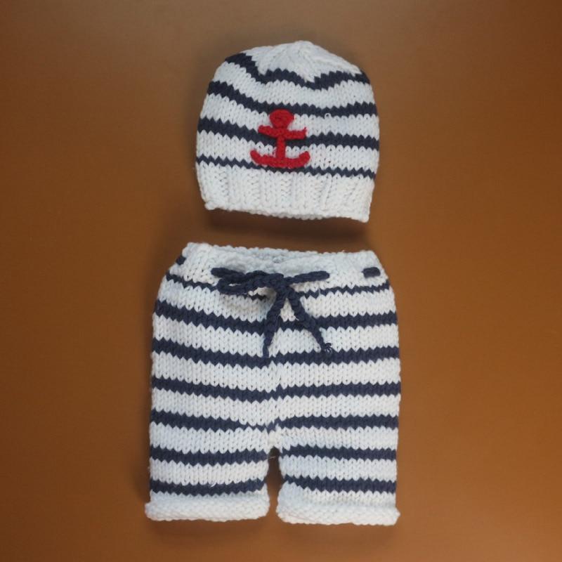 Handmade Newborn Props Crochet Navy Baby hat Newborn Photography Beanies and pants Props Photo fotografia Recem Nascido foto