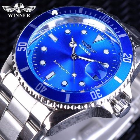 Design da Marca de Luxo Vencedor Azul Oceano Moldura Relógio Criativo Masculino Marca Superior Luminosa Casual Calendário Automático Relógios Mecânicos