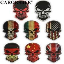CARORSBEE Aluminum Germany Italy ENGLAND France USA National Flag Punisher skull Emblem Badge Car sticker Auto accessories Decal