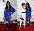 2015 Jessica White Sexy Deep V Neck Pleated Satin Long Sleeve Royal Blue Celebrity Dress Custom Made Vestido Da Celebridade