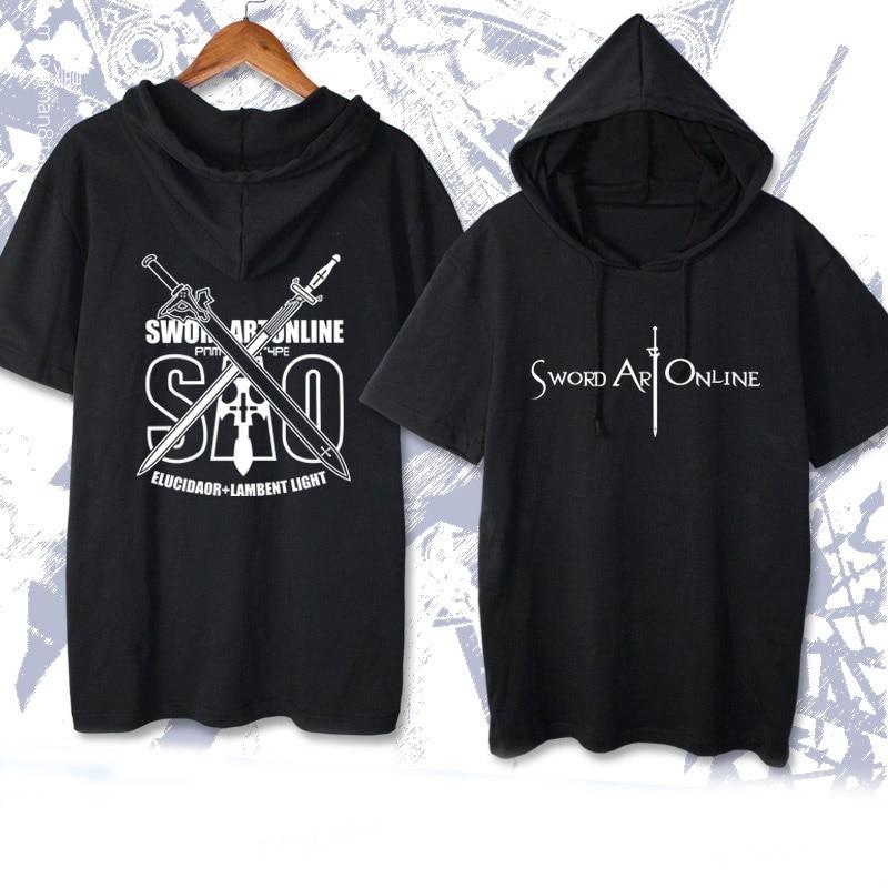 New Sword Art Online Short Sleeve Hooded T-shirt Casual Summer Women Men Kirigaya Kazuto Yuuki Asuna Cosplay T Shirts cotton Tee