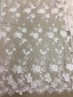 top001 offwhite 3d flower 3meters/pcs embroidery french tulle mesh lace for bridal gown dress/sawing/wedding