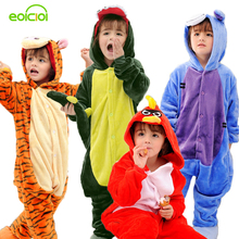 Girls Pajamas warm Autumn Winter Children's pajamas Flannel Animal Tigers donkey bird cartoon pajamas for Kids boy Sleepwear