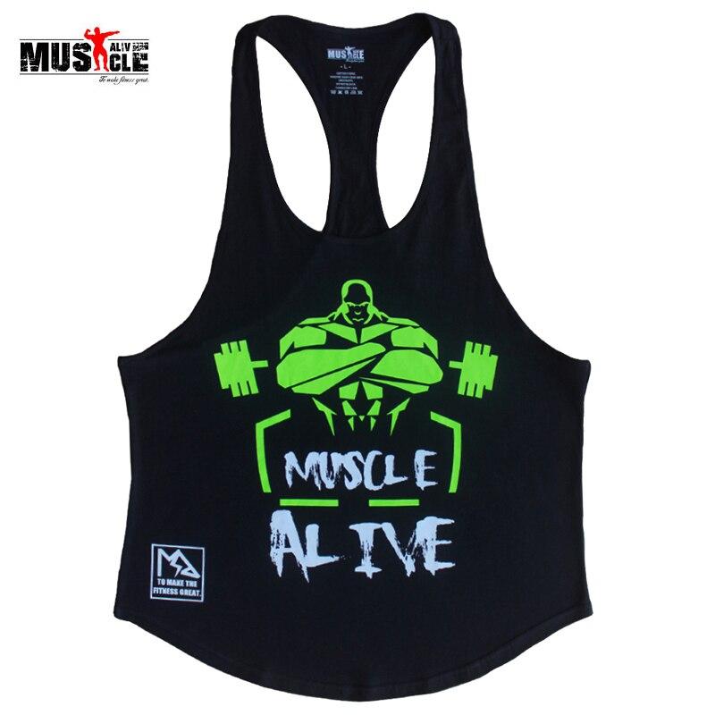 MUSCLE LEBENDIG Fitness Tank Top Männer Bodybuilding Kleidung Workout Für Mann Baumwolle Sleeveless Beiläufige Westen Stringer Singuletts MATPHXB