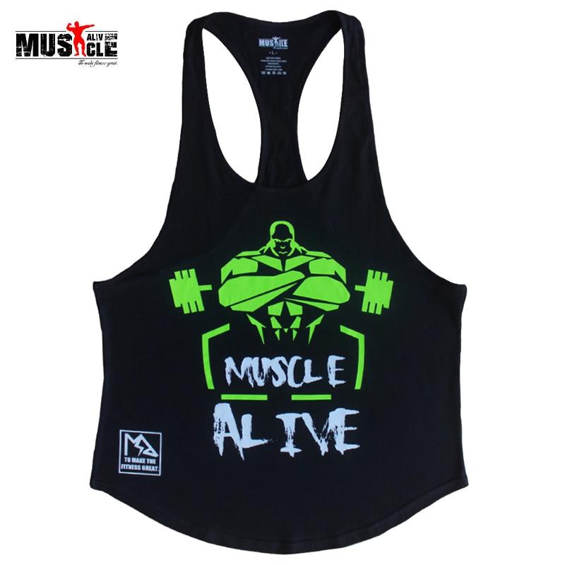MUSCOLO VIVO Per Il Fitness Tank Top Uomini Bodybuilding Allenamento Abbigliamento Per Uomo In Cotone Senza Maniche Casual Giubbotti Stringer Canotte MATPHXB