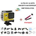 2016 hot sale  Sports action video camera 4K 24fps ULTRA HD 16MP camera DV WiFi 2inch Action waterproof camera add monopod