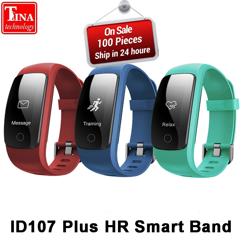 Orginal ID107Plus HR Smart Heart Rate Bracelet Monitor ID107 Plus Wristband Health Fitness Tracking For Android iOS Vs MI Band