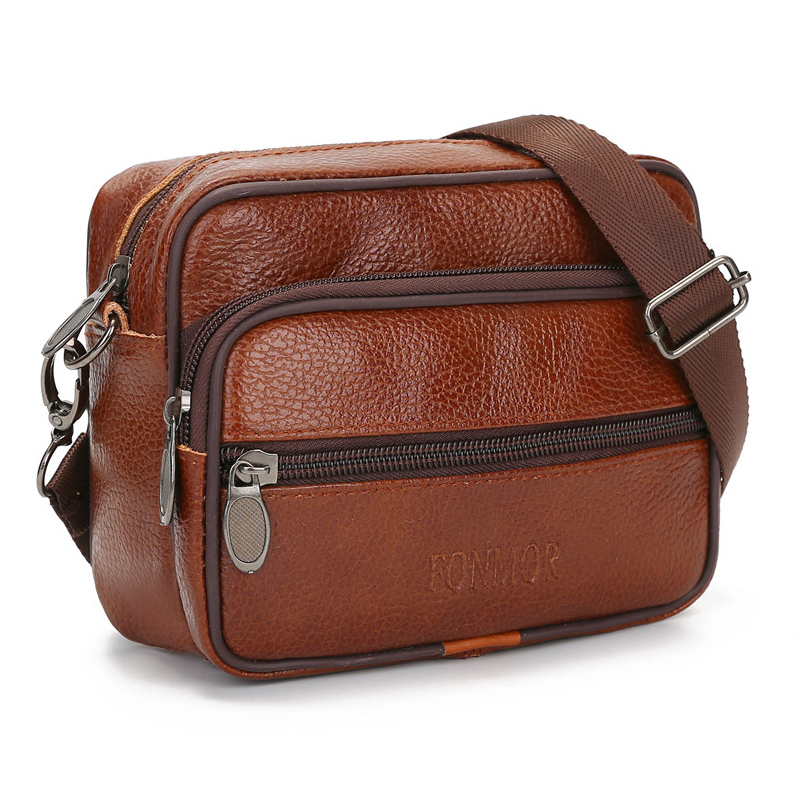 Fashion Men Genuine Leather Small Shoulder Bag Business Travel Cowhide Messenger Bags Vintage Belt Bag For Male Phone Flap Purse