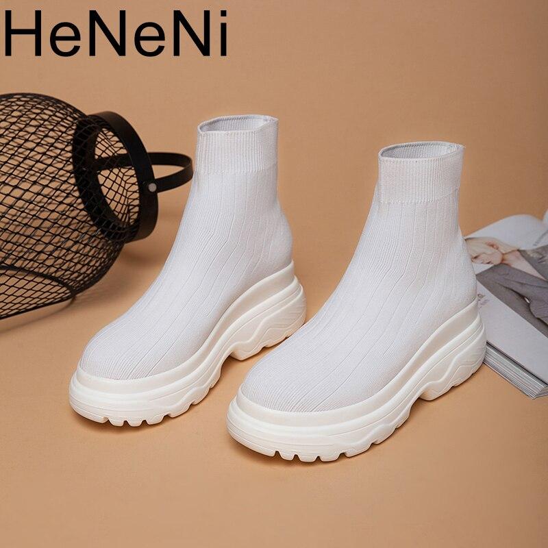 Haut hommes femmes baskets 5 CM semelle épaisse chaussette chaussures tricot Vamp respirant papa chaussures blanc noir Sapato Feminino taille 32-43